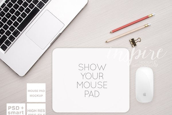 Rectangle Mouse Pad Mockup + PSD