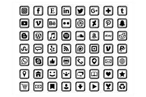 Black Square Social Media Icons
