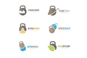 Set of gym logo combination. Fitness and sport symbol or icon. Unique barbell and weight logotype design template.