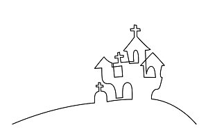 Continuous line drawing of black halloween manor