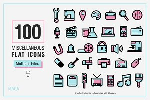 100 Miscellaneous Flat Icons