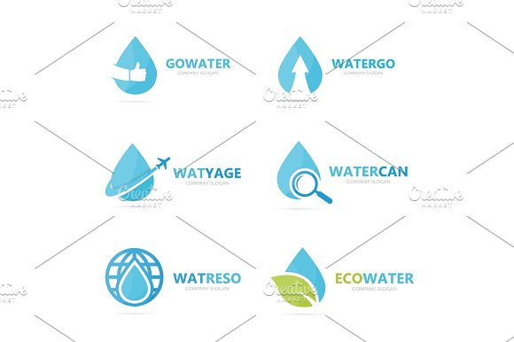 Set Of Water Drop Logo Combination Oil And Droplet Symbol Or Icon