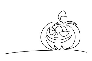 Continuous line drawing of Halloween pumpkin