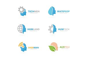 Set of people logo combination. Body and face symbol or icon. Unique man and human logotype design template.