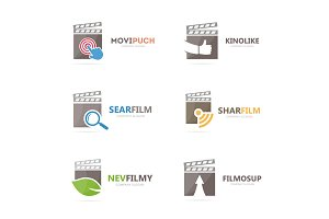 Set of clapperboard logo combination. Movie and cinema symbol or icon. Unique film and video logotype design template.