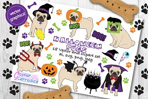 Halloween Pugs vector clipart