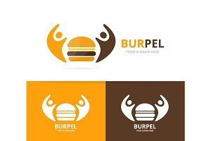 Vector burger and people logo combination. Hamburger and family symbol or icon. Unique fastfood and union, help, connect, team logotype design template.