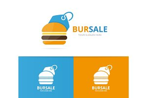Vector burger and tag logo combination. Hamburger and shop symbol or icon. Unique fastfood and label logotype design template.