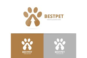 Vector paw and arrow up logo combination. Pet and growth symbol or icon. Unique vet and upload logotype design template.