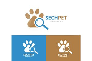 Vector paw and loupe logo combination. Pet and magnifying symbol or icon. Unique vet and search logotype design template.