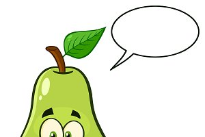 Happy Pear Fruit With Speech Bubble