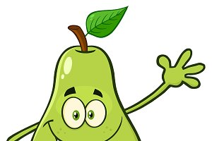 Happy Pear Fruit Waving For Greeting