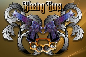 Blazing Guns Vector Customizable