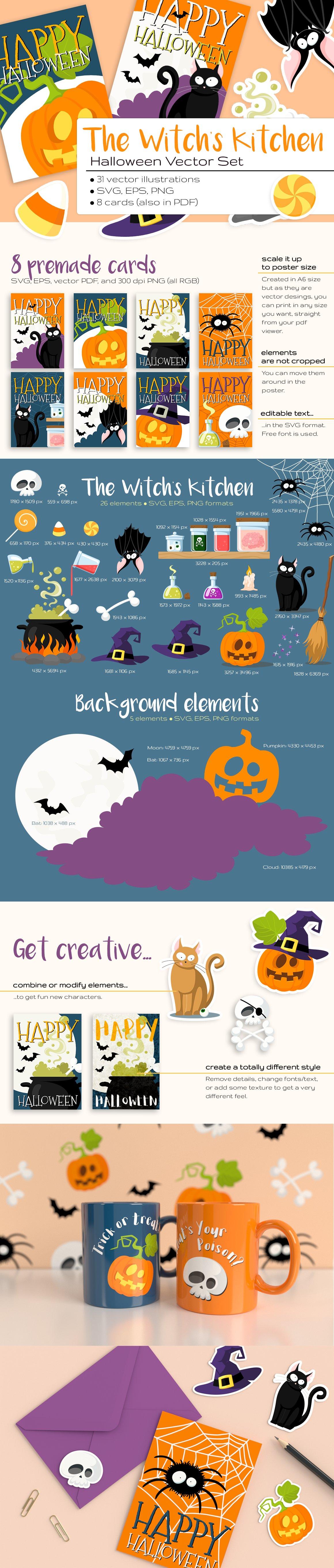 The Witch\'s Kitchen Halloween Set ~ Illustrations ~ Creative Market