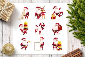 Christmas set with Santa Clauses