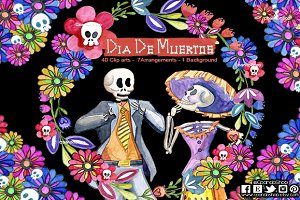 Day of the dead watercolor clip art