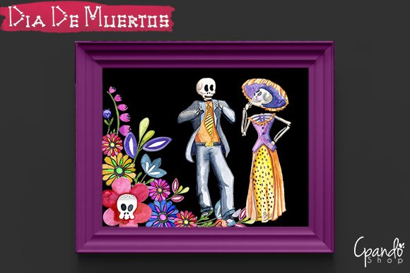 Day of the dead watercolor clip art - Illustrations