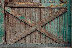 Old Rustic Turquoise Barn Door