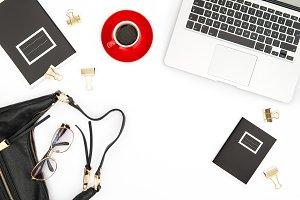 Office desk. Notebook coffee flat