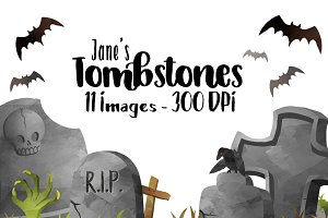 Watercolor Tombstones Clipart