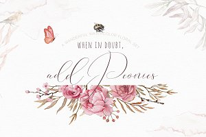 Add Peonies - Watercolor Graphic Set