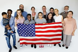 Diverse people with flag