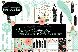 Vintage Calligraphy Clipart+Pattern