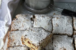 Date bars with powdered sugar