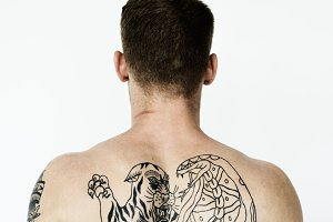 Rear of tattoo man