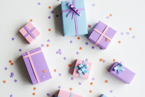 Gift boxes in different colors