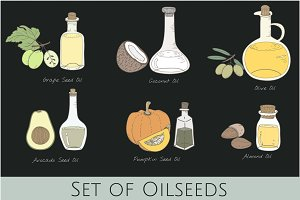 Vector of different types of oil
