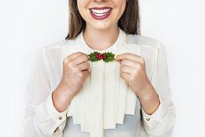 Cheerful Caucasian woman