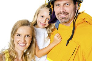 A fireman with his family
