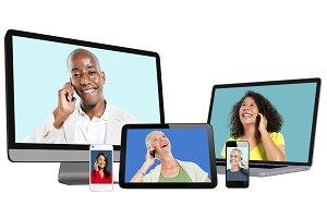 People on digital screens