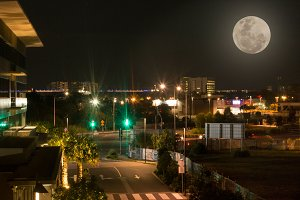 City Nightscape with Moon