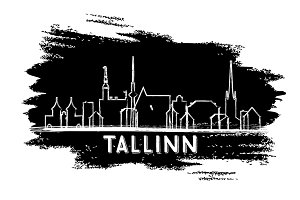 Tallinn Estonia Skyline Silhouette
