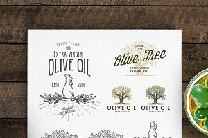 Olive oil labels and logos