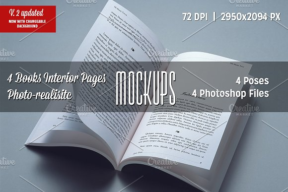 4 Books Interior Pages Mockups