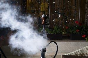 Hookah hot coals on shisha bowl