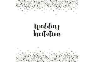 Luxury wedding card template with silver glitter confetti
