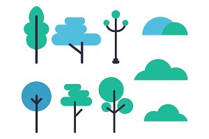 Set of Tree Icons Vector Illustration on White