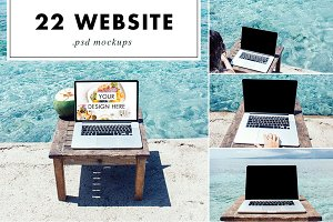 Laptop PSD Mockups at the Beach
