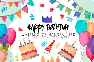 Watercolor Clip art happy birthday