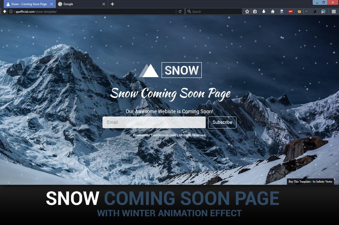 snow coming soon template website templates creative market