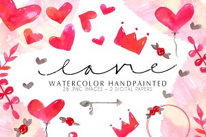 Love watercolor Clip art handpainted
