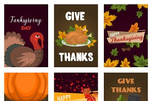 Thanksgiving Day party vector cards