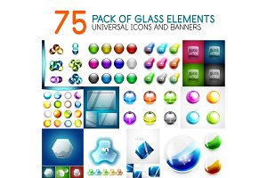 Mega pack of vector glass glossy design elements