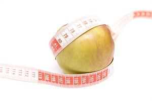 green apple with a meter