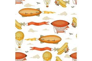 Seamless pattern with retro air transport. Vintage aerostat airship, blimp and plain in cloudy sky