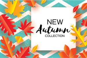 Beautiful Gold Autumn paper cut leaves. Hello Autumn. September flyer template. Square frame. Space for text. Origami Foliage. Maple, oak. Fall zigzag poster background. Vector